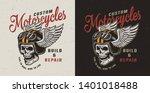 vintage motorcycle repair... | Shutterstock .eps vector #1401018488