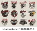 colorful motorcycle labels with ... | Shutterstock .eps vector #1401018815