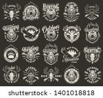 vintage monochrome hunting club ... | Shutterstock .eps vector #1401018818