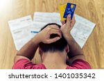 top view of stressed young... | Shutterstock . vector #1401035342