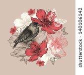 Flower Background With Bird ...