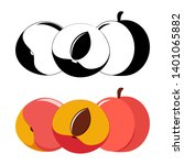 peaches  color and monochrome ... | Shutterstock .eps vector #1401065882