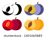 collection of vector plums of... | Shutterstock .eps vector #1401065885