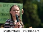 Small photo of Greta Thunberg, the Famous Swedish Climate Activist (Fridays for Future), Speaking to the Crowd in Rome, 2019. In February 2021 Her Effigies Were Burned in Delhi After Tweets on Indian Farmers Protest