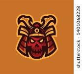 samurai skull head esport logo... | Shutterstock .eps vector #1401068228