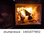 sauna stove  firewood and fire... | Shutterstock . vector #1401077852