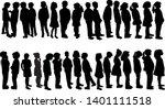 children waiting in line ... | Shutterstock .eps vector #1401111518
