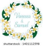 pumeria frangipani wreath in... | Shutterstock .eps vector #1401112598