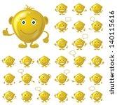 set of round golden smileys... | Shutterstock .eps vector #140115616