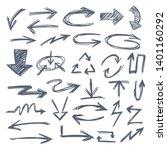 Illustration of Grunge Sketch Handmade Watercolor Doodle Vector Arrow Set Collection - EPS