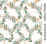 botanical pattern with branches ... | Shutterstock . vector #1401175688