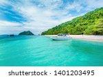 boat on the beach. summer... | Shutterstock . vector #1401203495