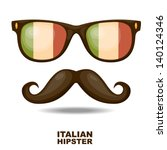 sunglasses and moustaches.... | Shutterstock .eps vector #140124346