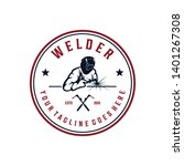 Welder Working Badge Logo Design