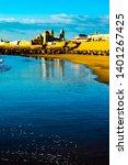 sunset over the ocean in cadiz...   Shutterstock . vector #1401267425
