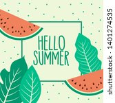 watermelon summer fruit and... | Shutterstock .eps vector #1401274535