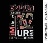urban denim with slogan graphic ... | Shutterstock .eps vector #1401274832