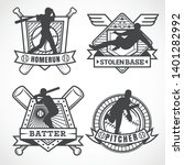 baseball badges in black and... | Shutterstock .eps vector #1401282992