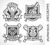 baseball badges in black and... | Shutterstock .eps vector #1401282995