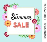 summer sale flyer template with ... | Shutterstock .eps vector #1401290942