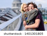 happy couple hugging by... | Shutterstock . vector #1401301805
