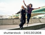 funny couple junping near the... | Shutterstock . vector #1401301808