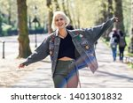young woman arms raised... | Shutterstock . vector #1401301832