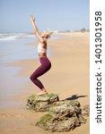 caucasian woman practicing yoga ... | Shutterstock . vector #1401301958