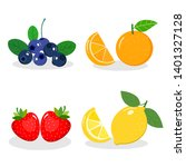 set of fruit. strawberry  lemon ... | Shutterstock .eps vector #1401327128