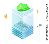 laptop in glass box with shield ... | Shutterstock .eps vector #1401350645