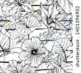 modern stripes jungle motif.... | Shutterstock .eps vector #1401396902
