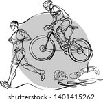 triathlon athletes doing... | Shutterstock .eps vector #1401415262