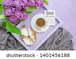 breakfast. a lilac tray with a... | Shutterstock . vector #1401456188