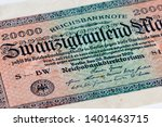 Small photo of Twenty thousand mark (20,000 marks) bank note from the German Reichsbank, July 1923, as a result of hyperinflation