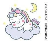 cute unicorn vector pony... | Shutterstock .eps vector #1401490415