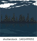 vector night city by the ocean... | Shutterstock .eps vector #1401499052