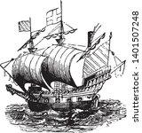 ralegh ship was one of thirteen ... | Shutterstock .eps vector #1401507248