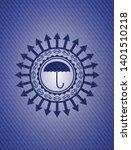 umbrella icon inside emblem...