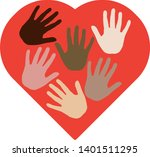 heart with different hands from ...   Shutterstock .eps vector #1401511295