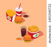 fast food combo sets. fries ...   Shutterstock .eps vector #1401540722