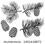 vintage pine cone and branches... | Shutterstock .eps vector #1401618872