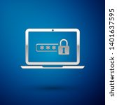 silver laptop with password... | Shutterstock .eps vector #1401637595