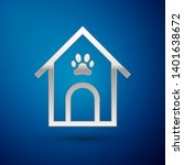 silver dog house and paw print...   Shutterstock .eps vector #1401638672