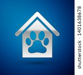 silver dog house and paw print...   Shutterstock .eps vector #1401638678