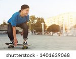 cool teen skater riding on... | Shutterstock . vector #1401639068