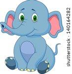 Stock vector cute baby elephant cartoon 140164282