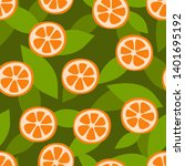 mandarin fruit seamless pattern.... | Shutterstock .eps vector #1401695192