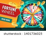 Stock vector wheel fortune lucky jackpot winner text banner casino prize spinning roulette game win chance 1401736025