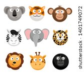 wild animal emoticons. vector... | Shutterstock .eps vector #1401749072