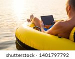 relaxed man using tablet...   Shutterstock . vector #1401797792